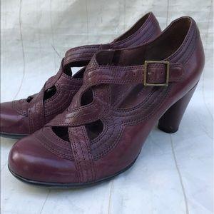 Clark's indigo Cross Strap Mary Jane Heels Purple